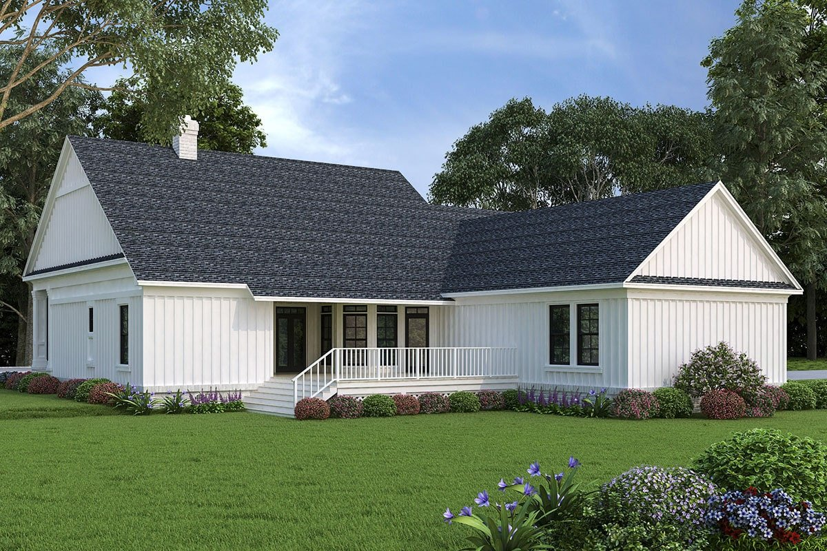 Rear rendering of the 3-bedroom two-story modern farmhouse showing the spacious deck.