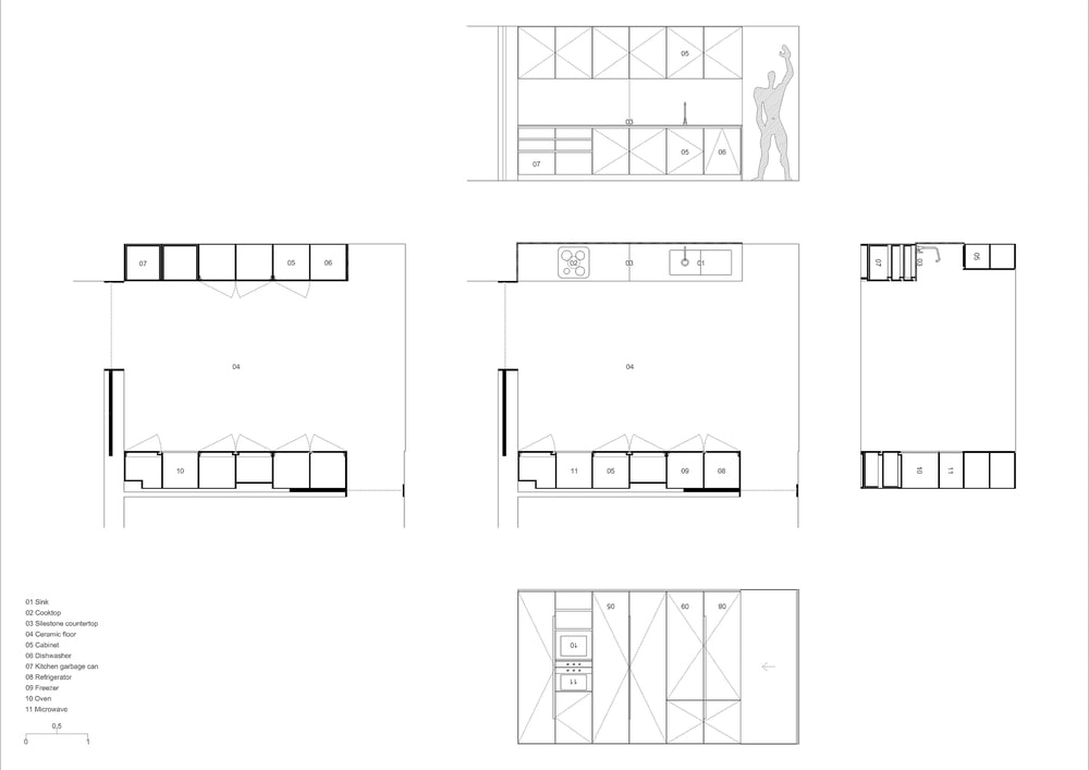 This is an illustration of the house's cabinetry and storage.