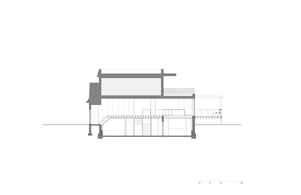 This is the illustration of the cross section of the house elevation.
