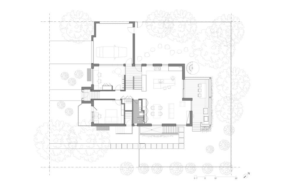 This is an illustration of the first level floor plan of the house.