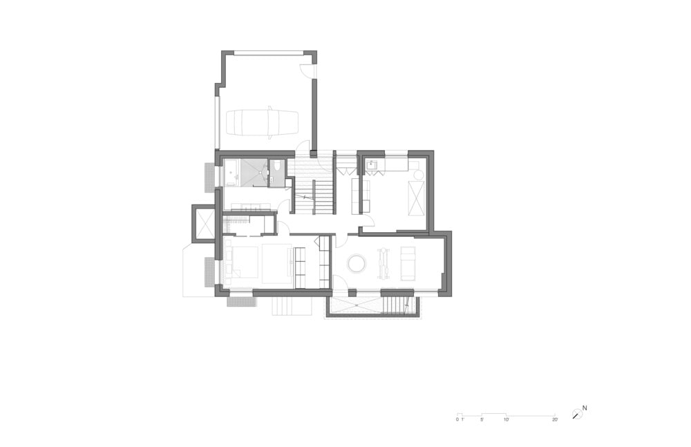 This is an illustration of the upper level floor plan of the house.