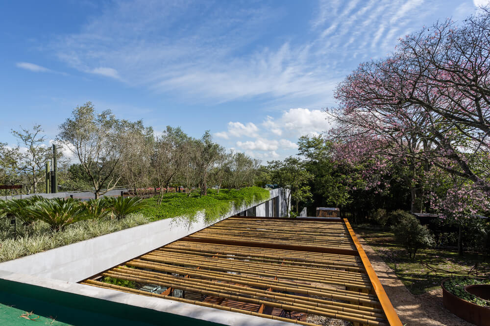 The wooden deck platform is topped with a set of trellises to bring shade to the area.