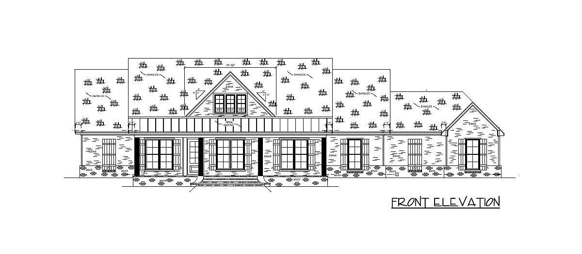 Front elevation sketch of the 4-bedroom single-story country home.
