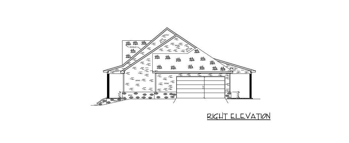 Right elevation sketch of the 4-bedroom single-story country home.