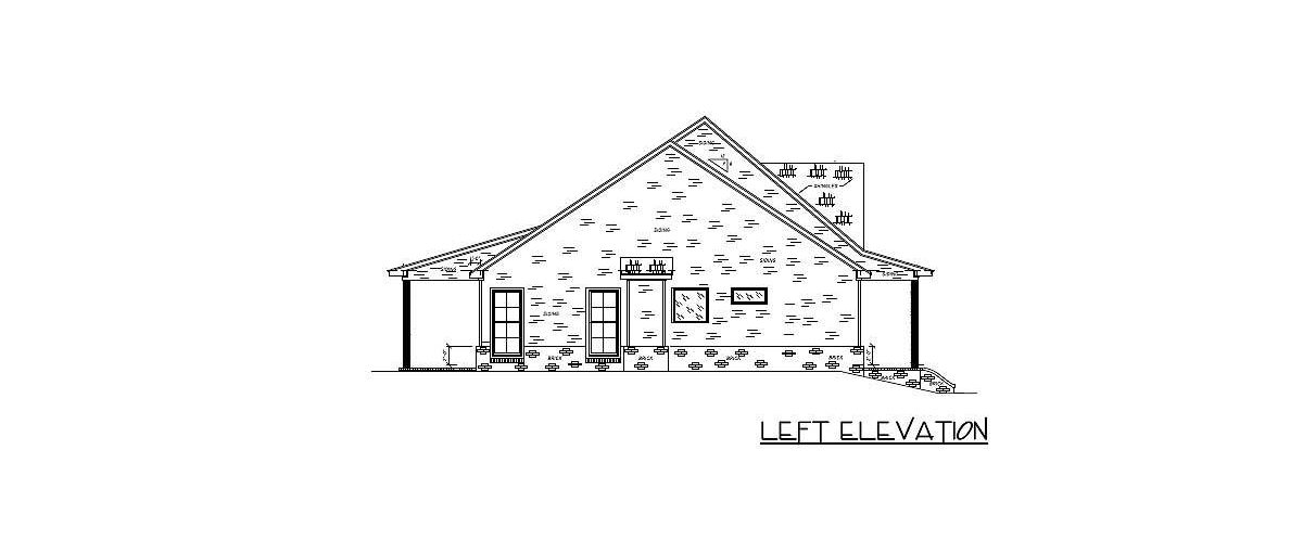 Left elevation sketch of the 4-bedroom single-story country home.