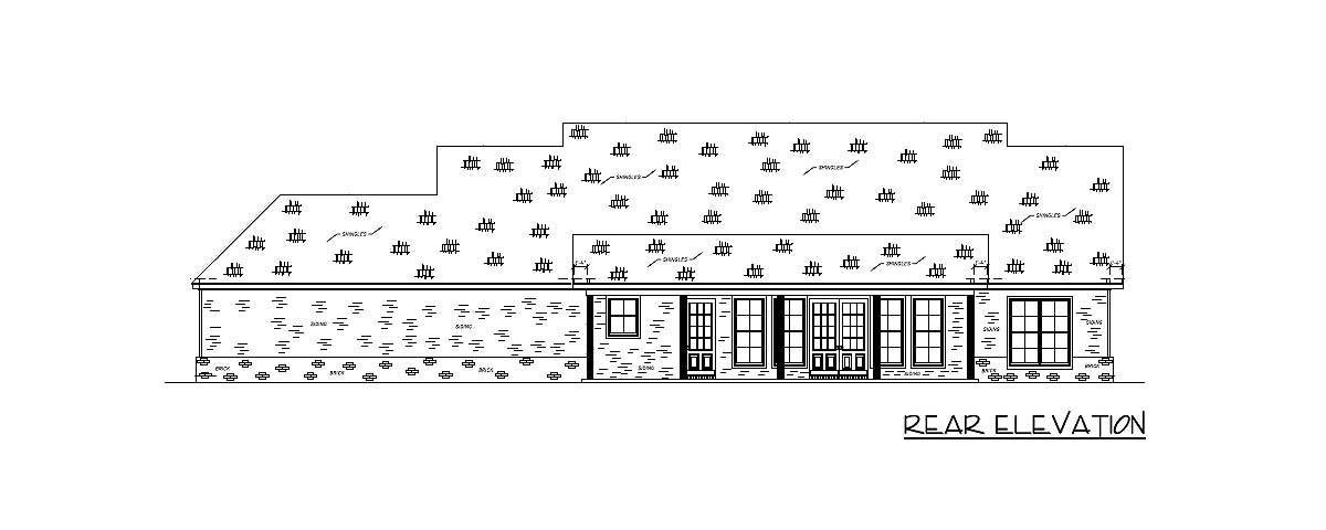Rear elevation sketch of the 4-bedroom single-story country home.