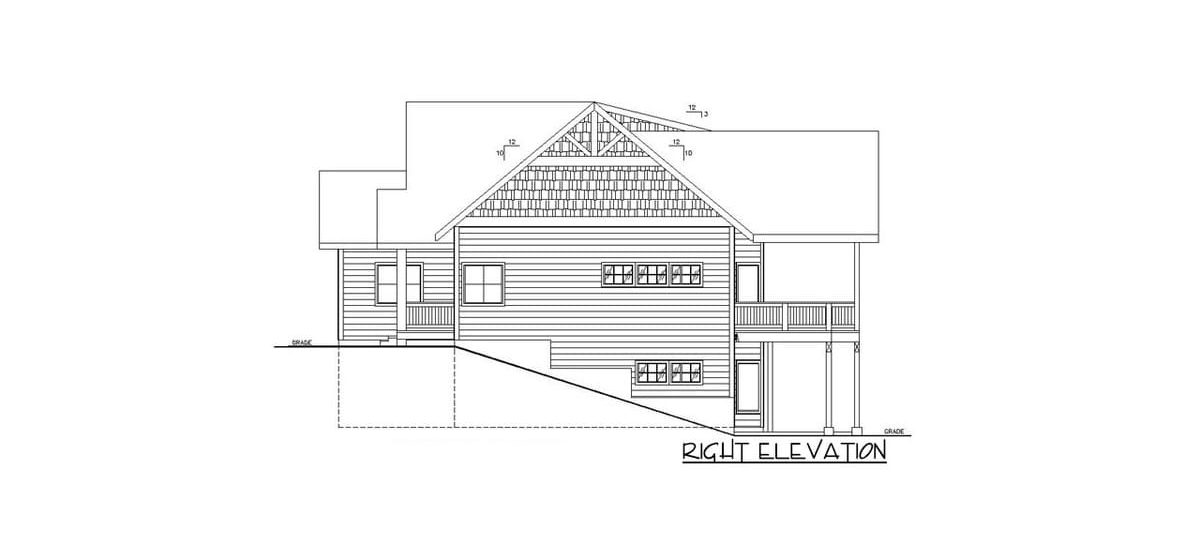 Right elevation sketch of the 4-bedroom two-story country home.