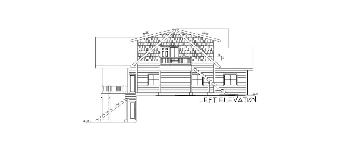 Left elevation sketch of the 4-bedroom two-story country home.