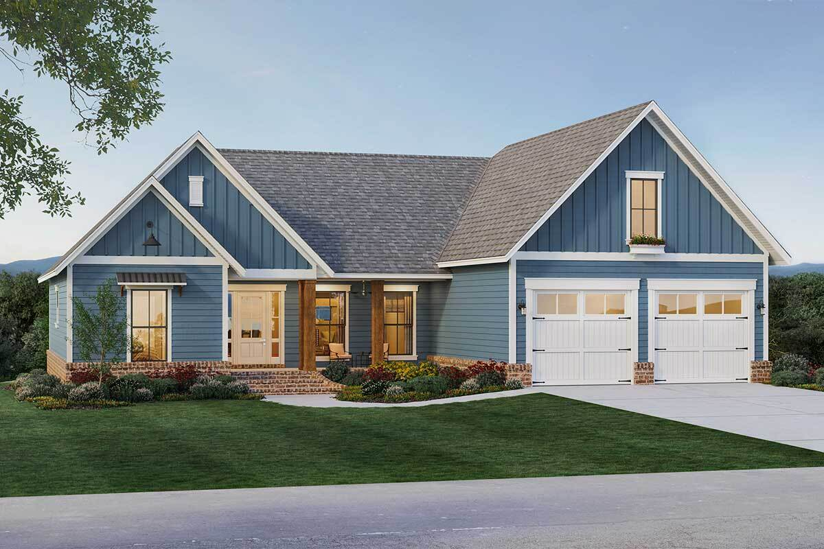 Front rendering of the 4-bedroom two-story country home.