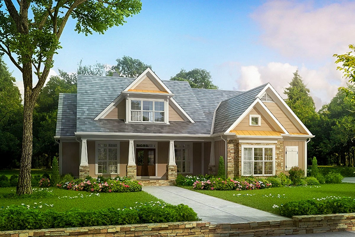 Front rendering of the 4-bedroom two-story craftsman style home.