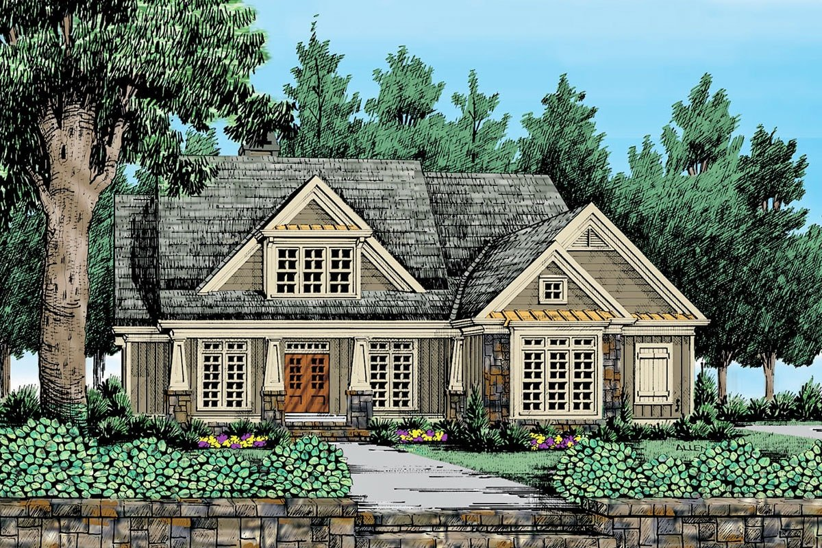 Front perspective sketch of the 4-bedroom two-story craftsman style home.