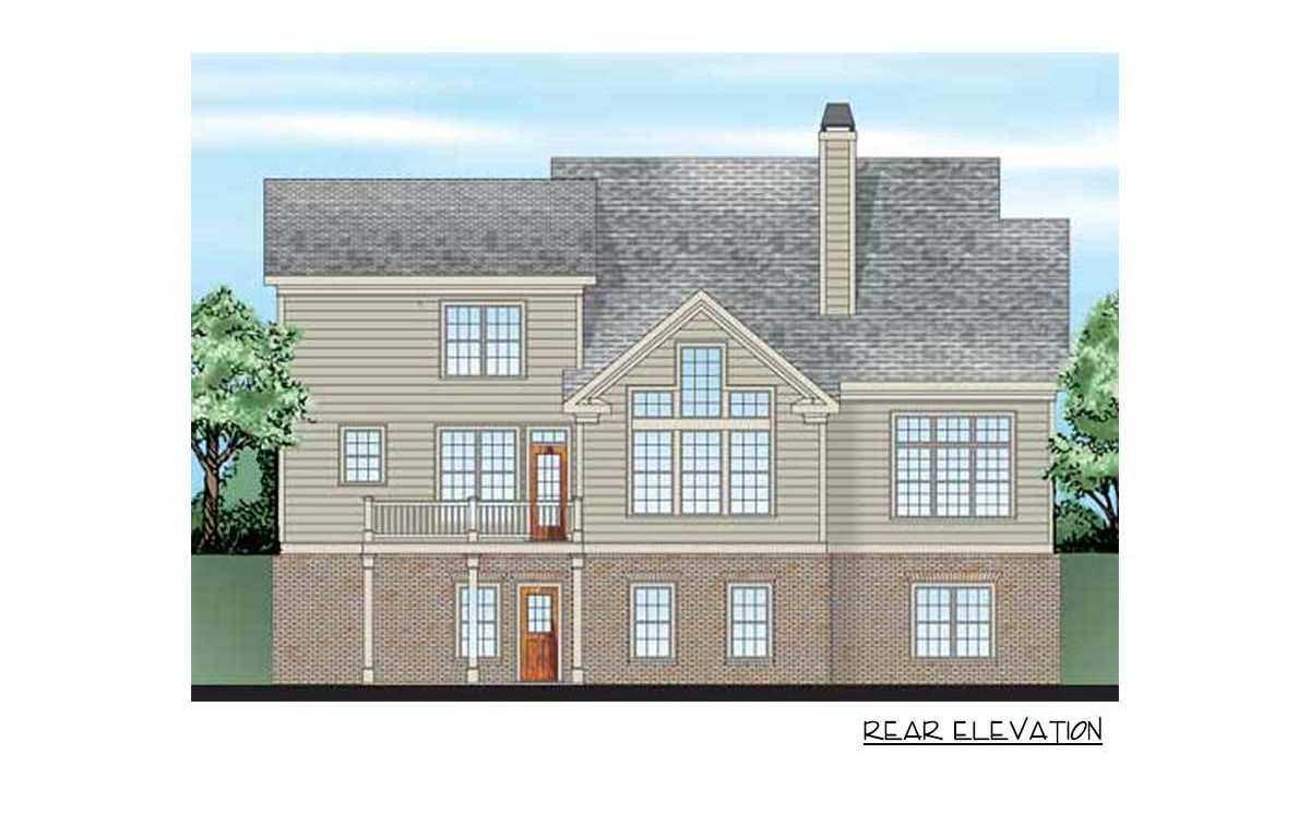 Rear elevation sketch of the 4-bedroom two-story craftsman style home.