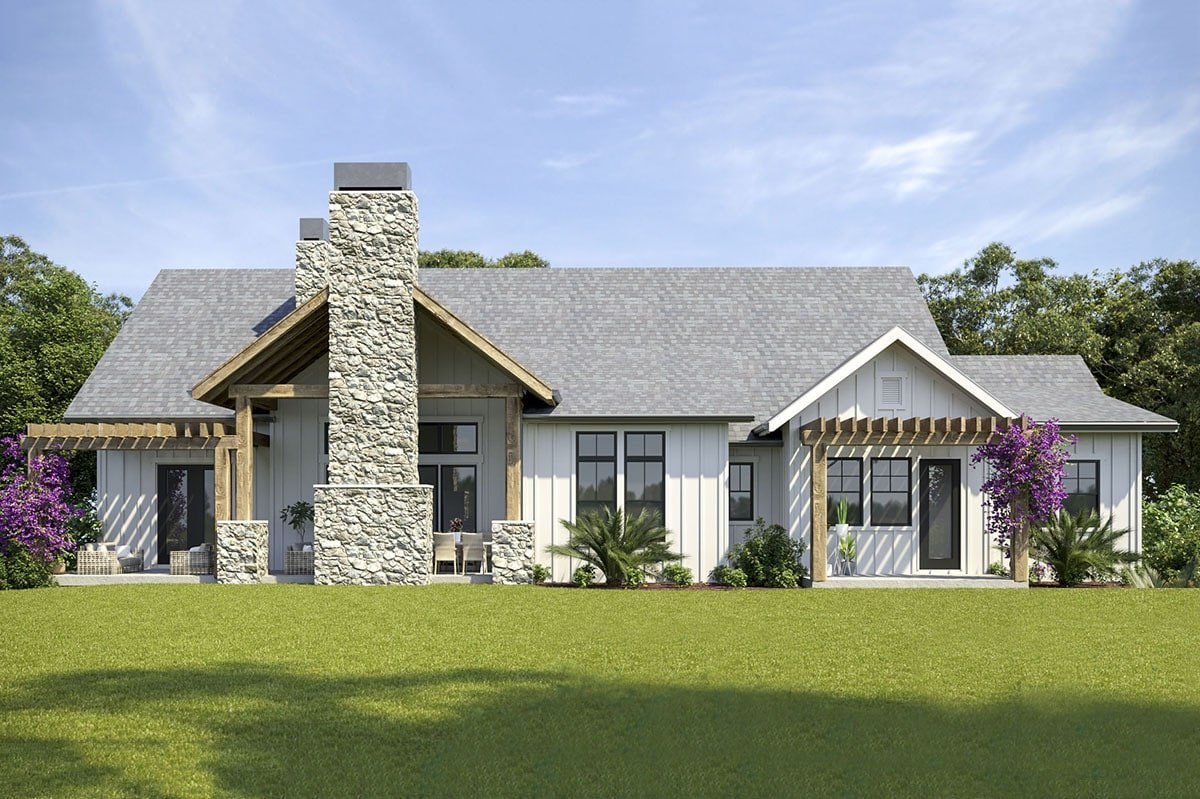 Rear rendering of the 4-bedroom two-story mountain modern home.