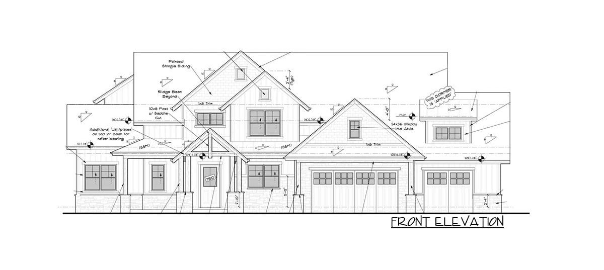 Front elevation sketch of the 4-bedroom two-story New American craftsman home.