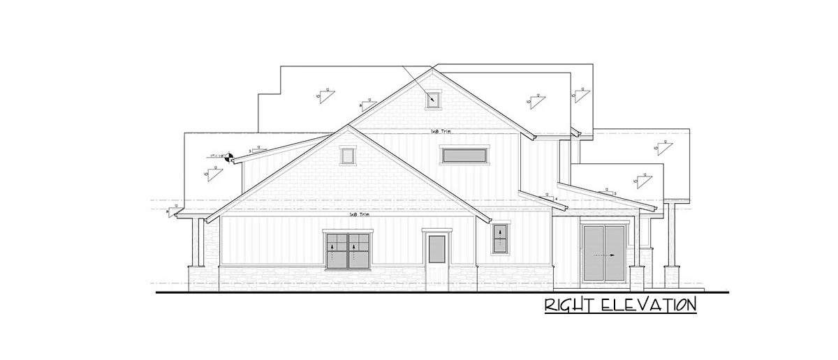 Right elevation sketch of the 4-bedroom two-story New American craftsman home.