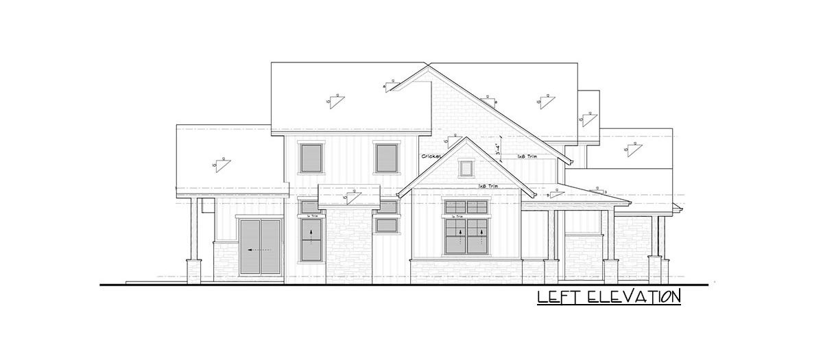 Left elevation sketch of the 4-bedroom two-story New American craftsman home.