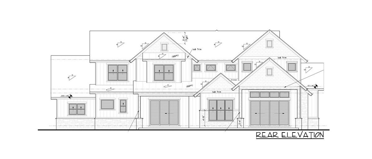 Rear elevation sketch of the 4-bedroom two-story New American craftsman home.