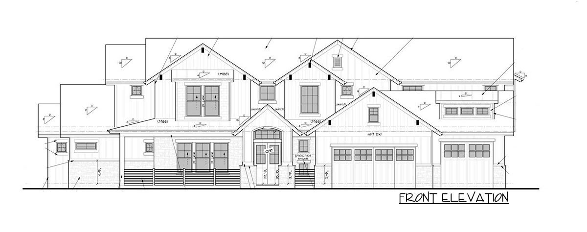 Front elevation sketch of the 4-bedroom two-story New American home.