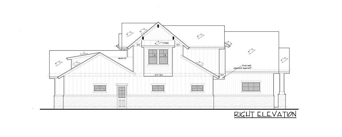Right elevation sketch of the 4-bedroom two-story New American home.