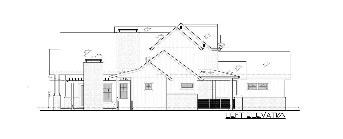 Left elevation sketch of the 4-bedroom two-story New American home.