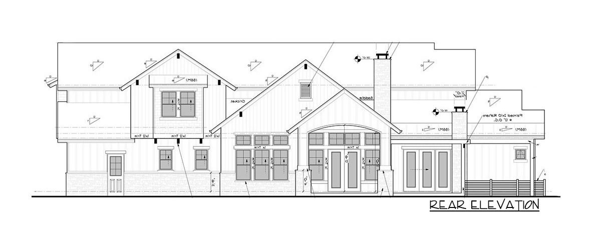 Rear elevation sketch of the 4-bedroom two-story New American home.