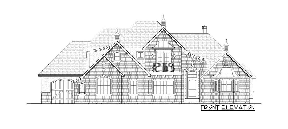Front elevation sketch of the 5-bedroom two-story French country home.