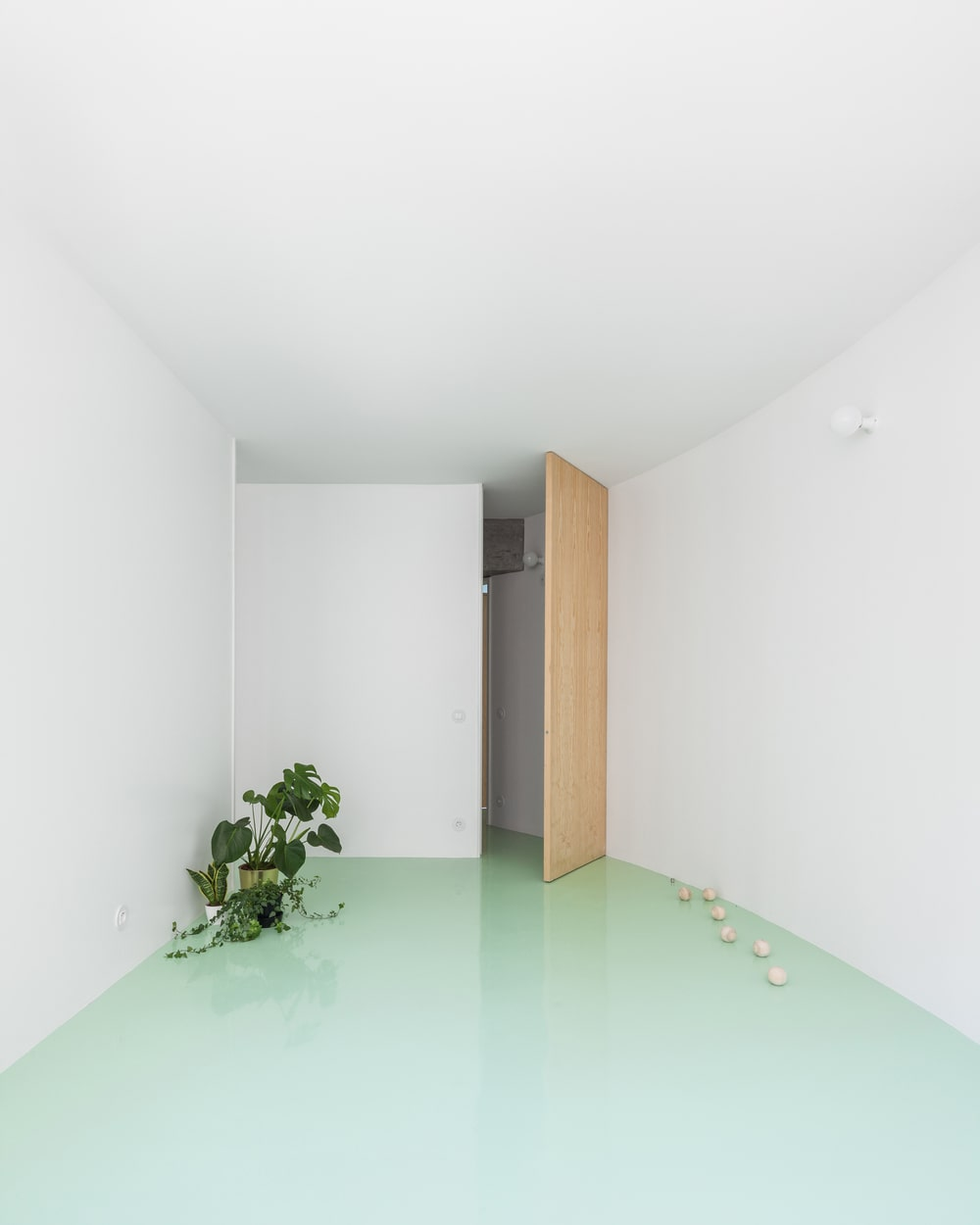 The wooden door of this room stands out against the mint green floor and bright walls.