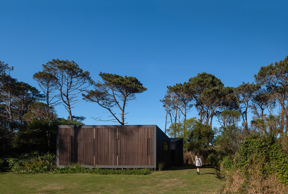 This is an exterior view of the house that has dark wooden exterior walls adorned by the surrounding landscape.