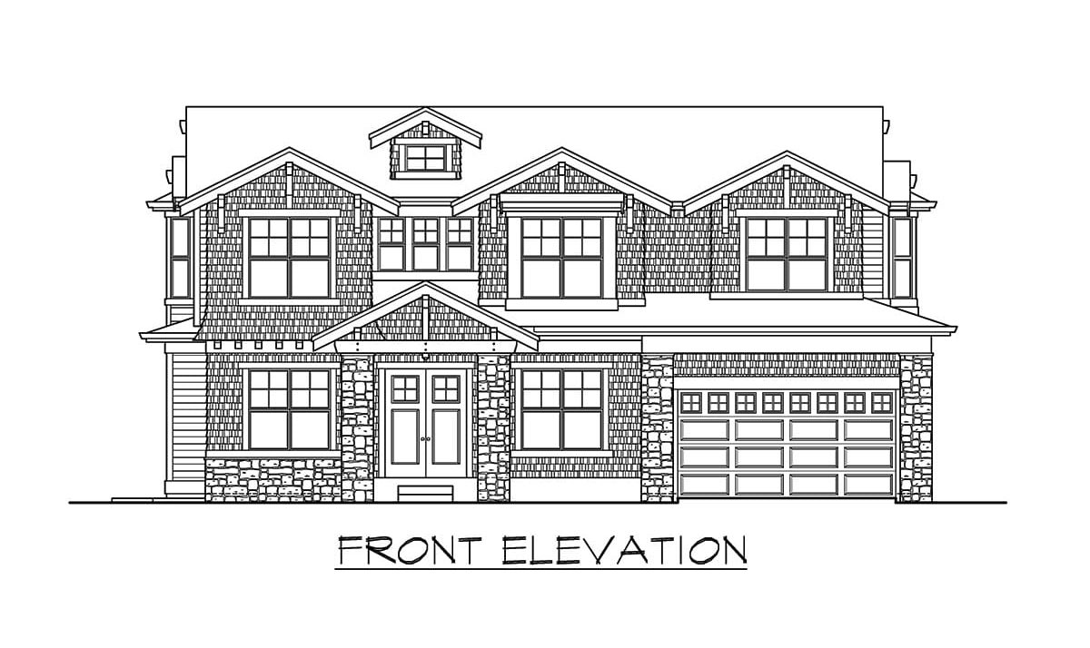 Front elevation sketch of the 6-bedroom two-story craftsman home.