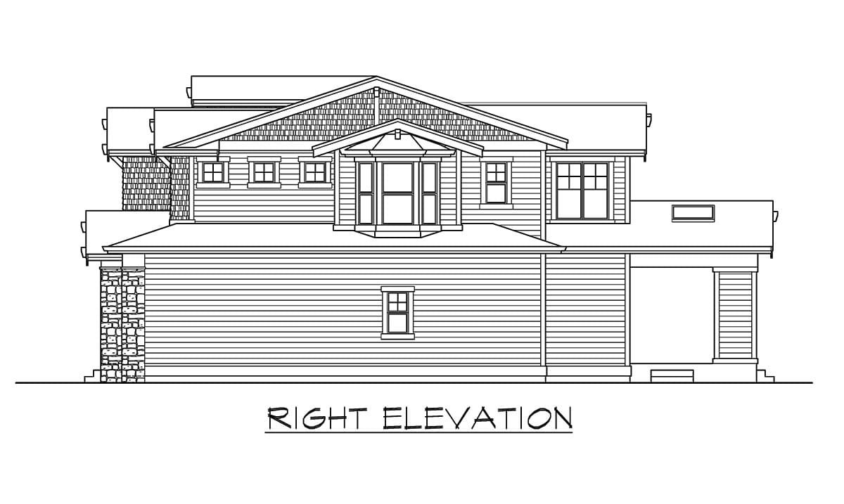 Right elevation sketch of the 6-bedroom two-story craftsman home.