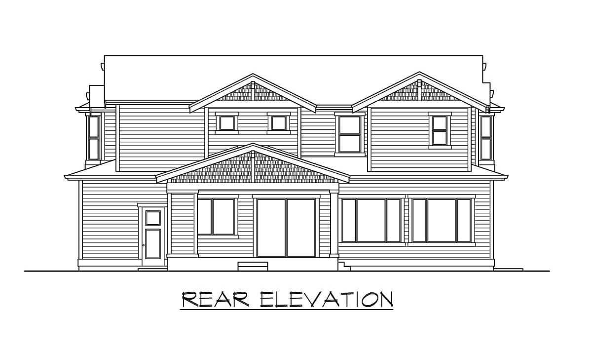 Rear elevation sketch of the 6-bedroom two-story craftsman home.