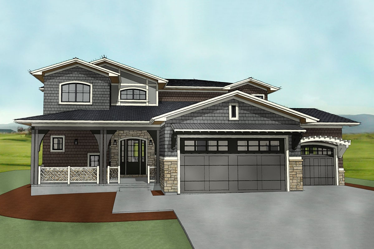 Front rendering of the 7-bedroom two-story Northwest shingle home.
