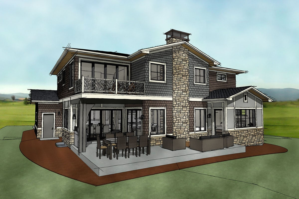 Rear rendering of the 7-bedroom two-story Northwest shingle home.