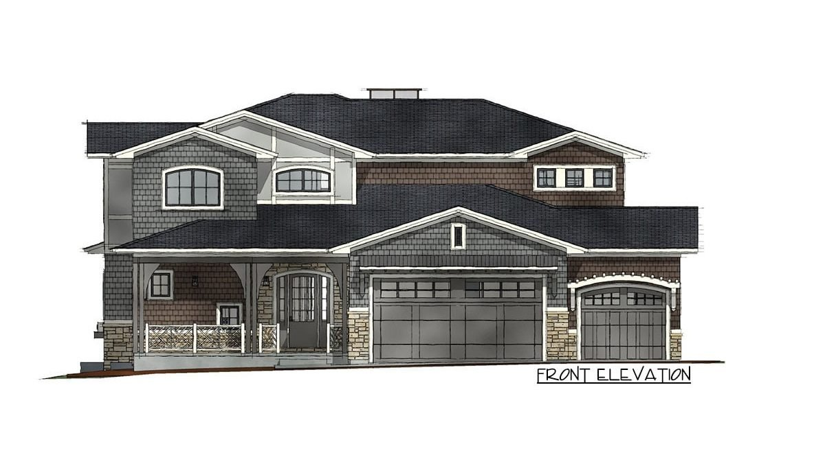 Front elevation sketch of the 7-bedroom two-story Northwest shingle home.