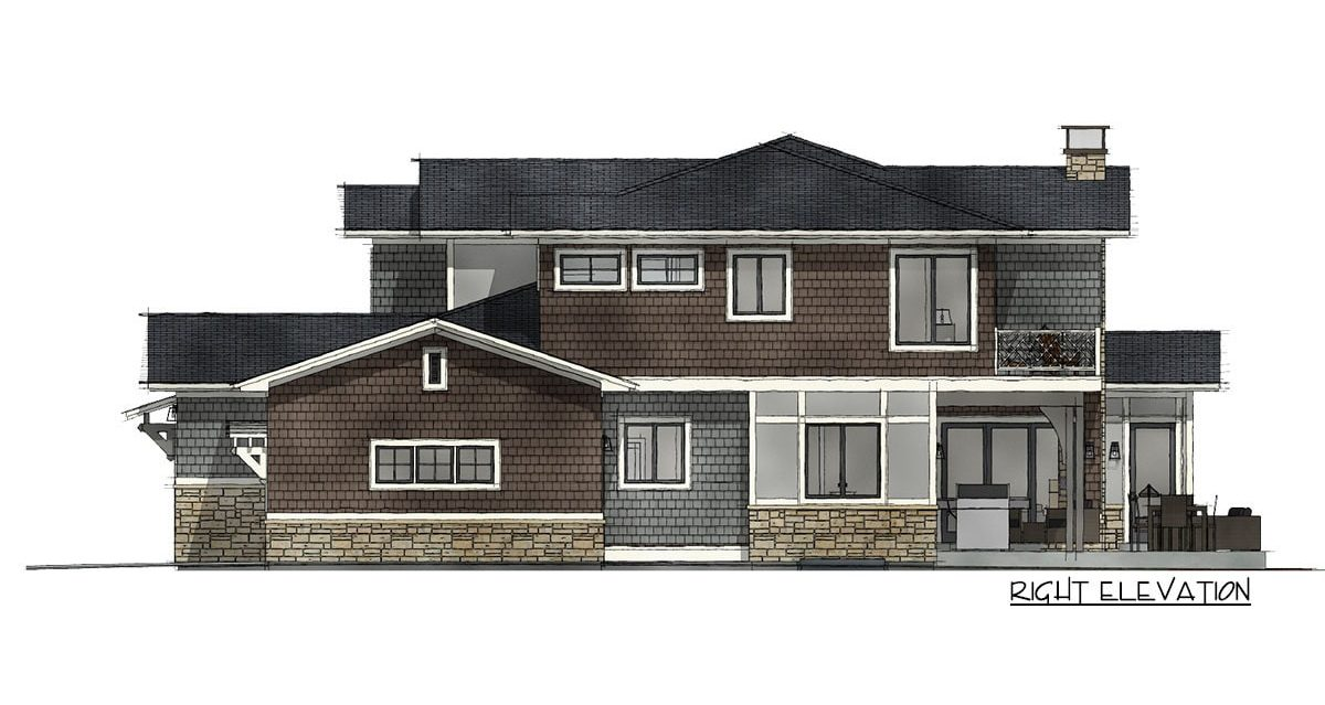 Right elevation sketch of the 7-bedroom two-story Northwest shingle home.