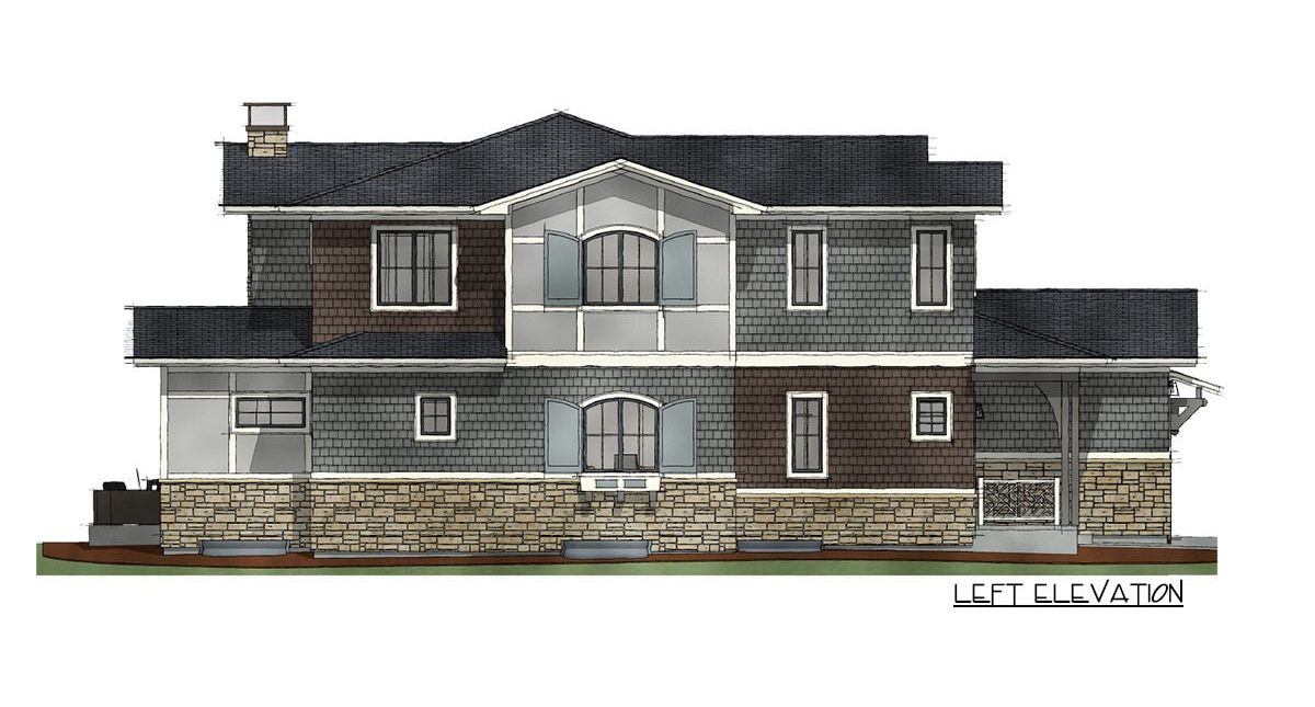 Left elevation sketch of the 7-bedroom two-story Northwest shingle home.
