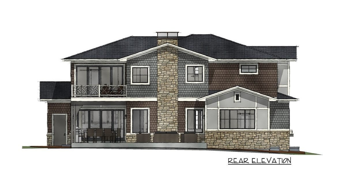 Rear elevation sketch of the 7-bedroom two-story Northwest shingle home.
