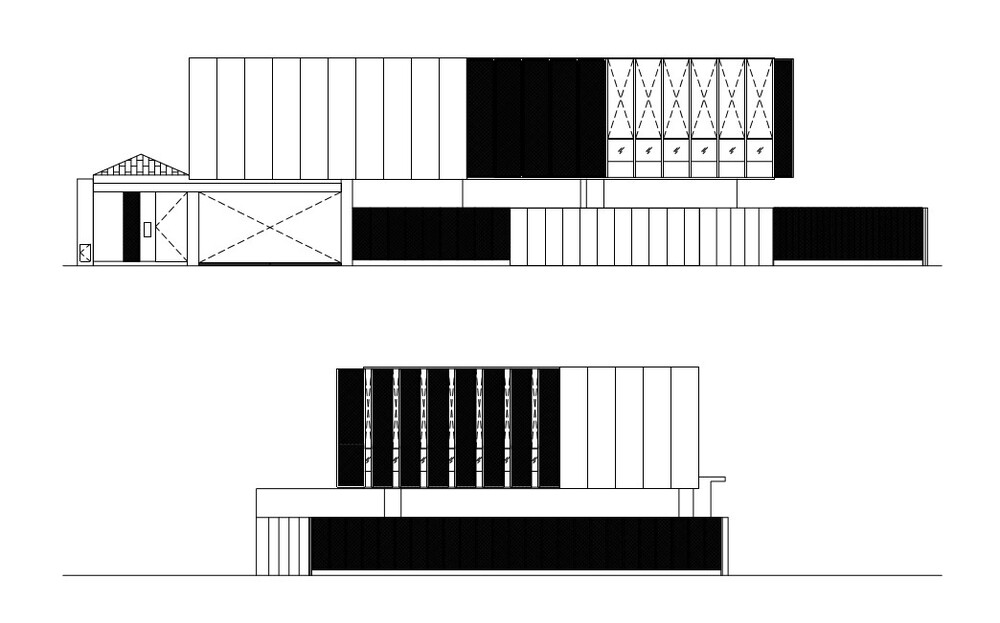 This is an illustration of the elevation of the house featuring the panels of the house exterior.