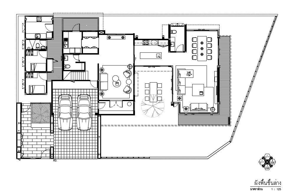 This is an illustration of the ground level floor plan of the house.