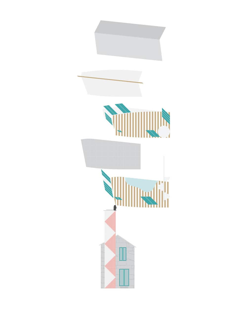 This is an illustration of the house's floor plan and side elevation.