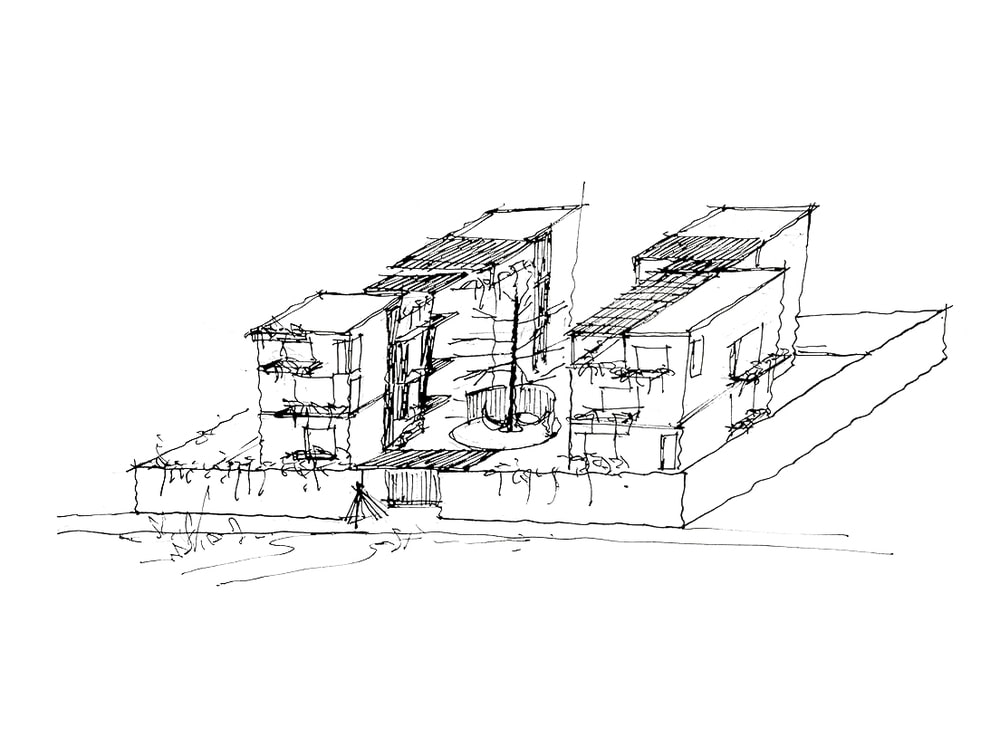 This is a sketch of the whole house showcasing its structures.