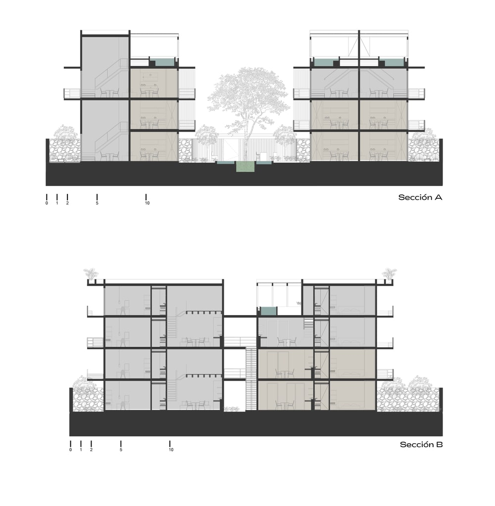 This is an illustration of the house's cross section A and cross Section B elevation.