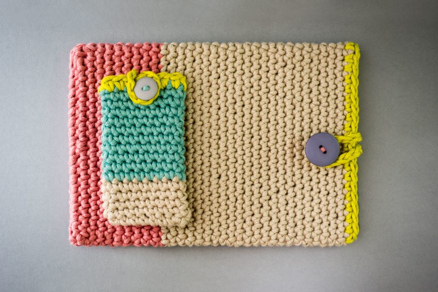 Multicolored Crochet Phone Case on Grey Background