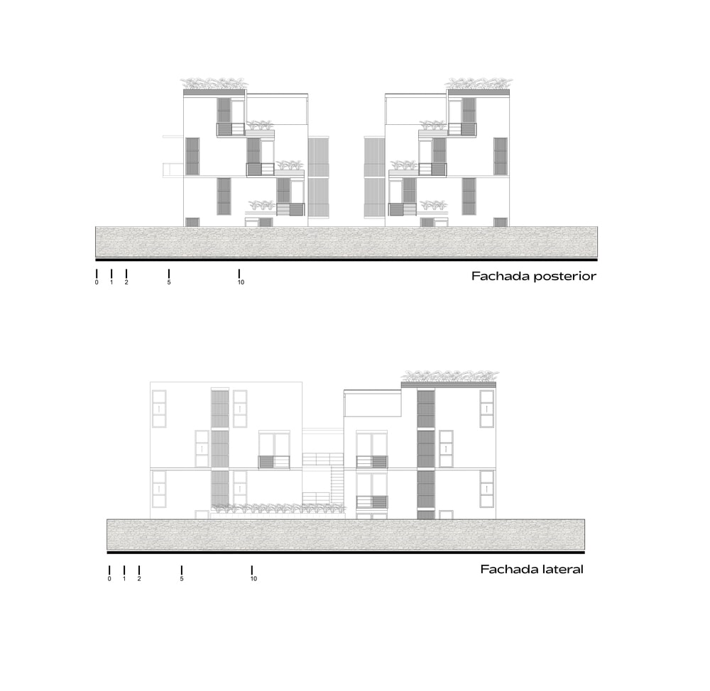 This is an illustration of the house's posterior and lateral elevations.