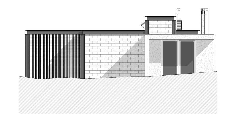 This is an illustration of the cross section of the house with a door.