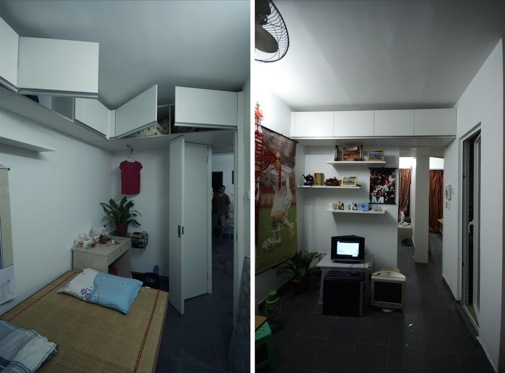 This is a dual view showcasing the interior of one of the collective housing units with white walls, ceiling and folding doors.