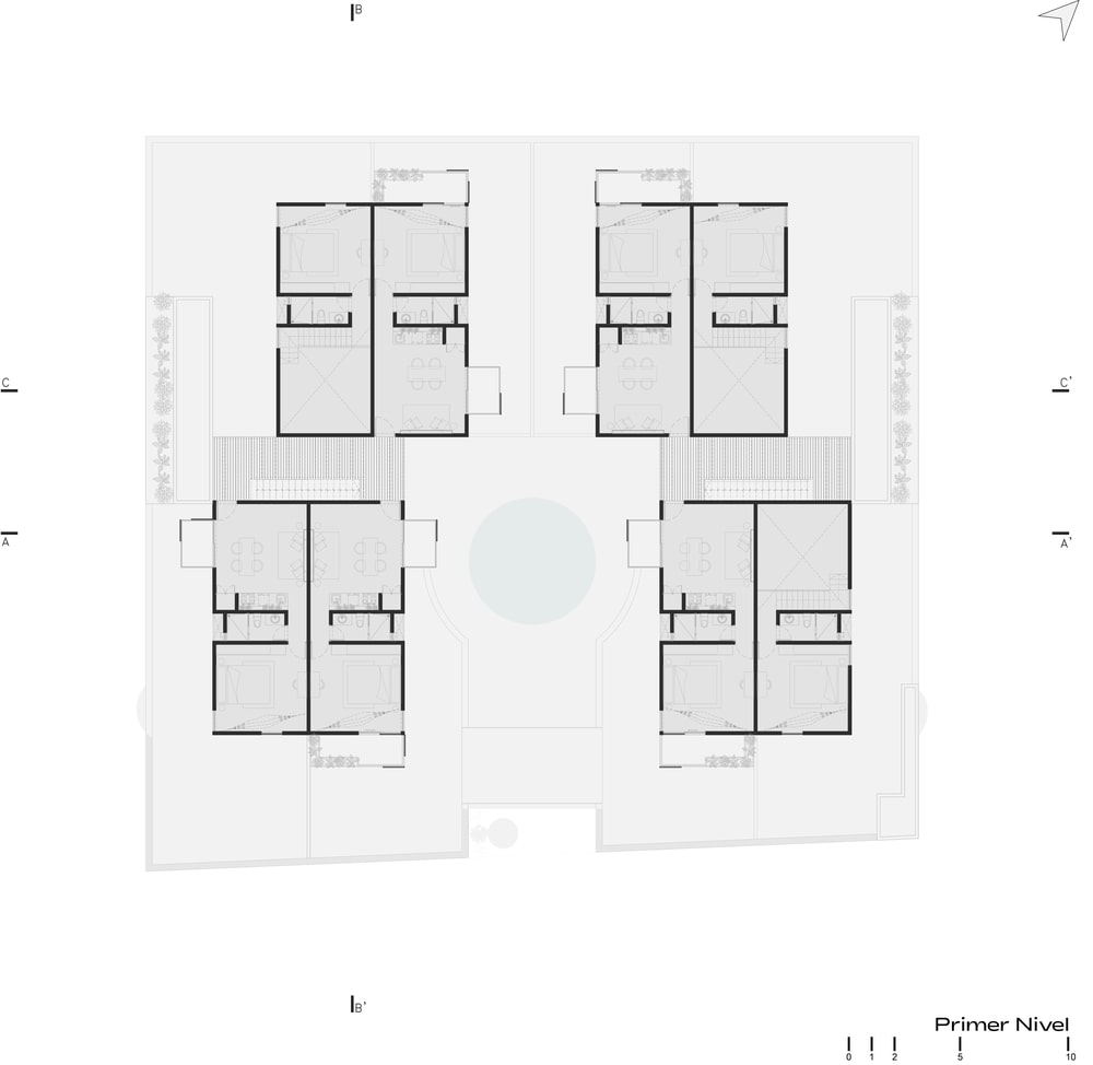 This is an illustration of the whole property including the different sections and structures.