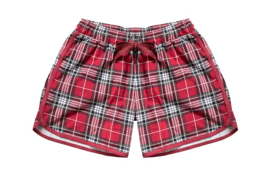 Red Plaid Pajama Shorts on a white background