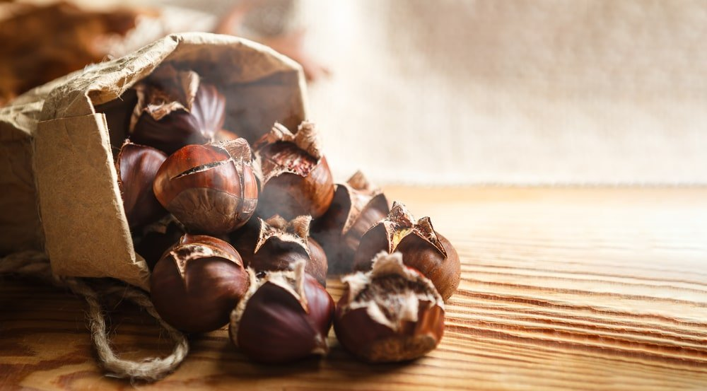 A bag of roasted chestnuts.