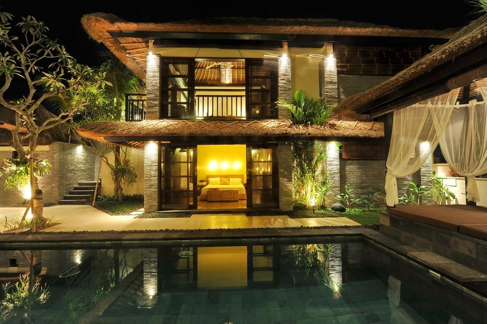 Asian modern villa with swimming pool.